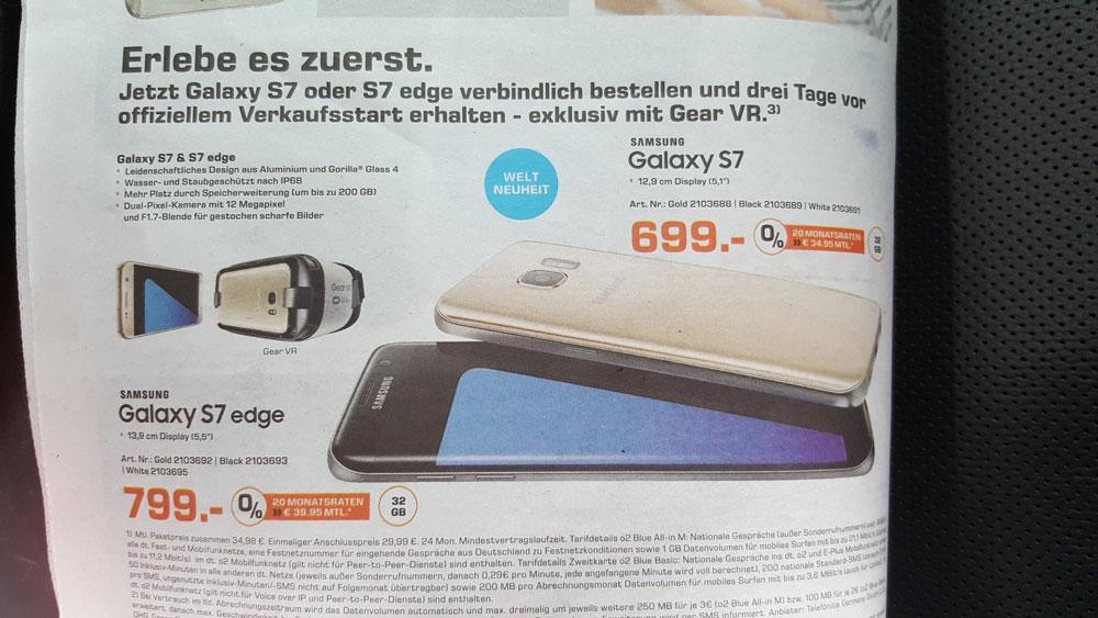 Samsung Galaxy S7 und Galaxy S7 Edge: Flyer von Saturn und Vodafone zeigen Details und GearVR-Set