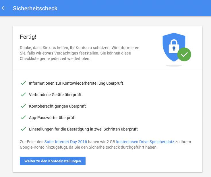 Safer Internet Day 2016: Google verschenkt 2 GB Google Drive Speicher für Sicherheitscheck