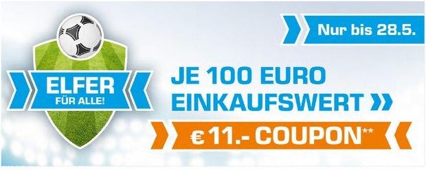"""Saturn """"Elfer für alle"""": 11 Euro Gutschein bei 100 Euro Einkaufswert"""