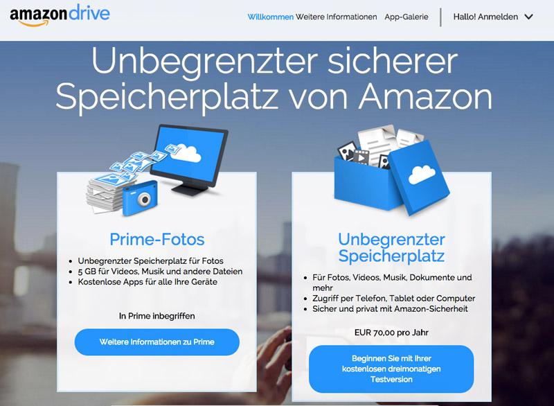 Amazon Drive: Unlimitierter Cloud-Speicher für nur 6 Euro im Monat