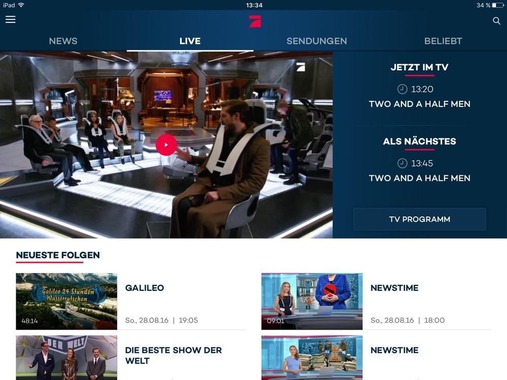 ProSiebenSat1: Kostenloses Live-TV von ProSieben, Sat1 und Co