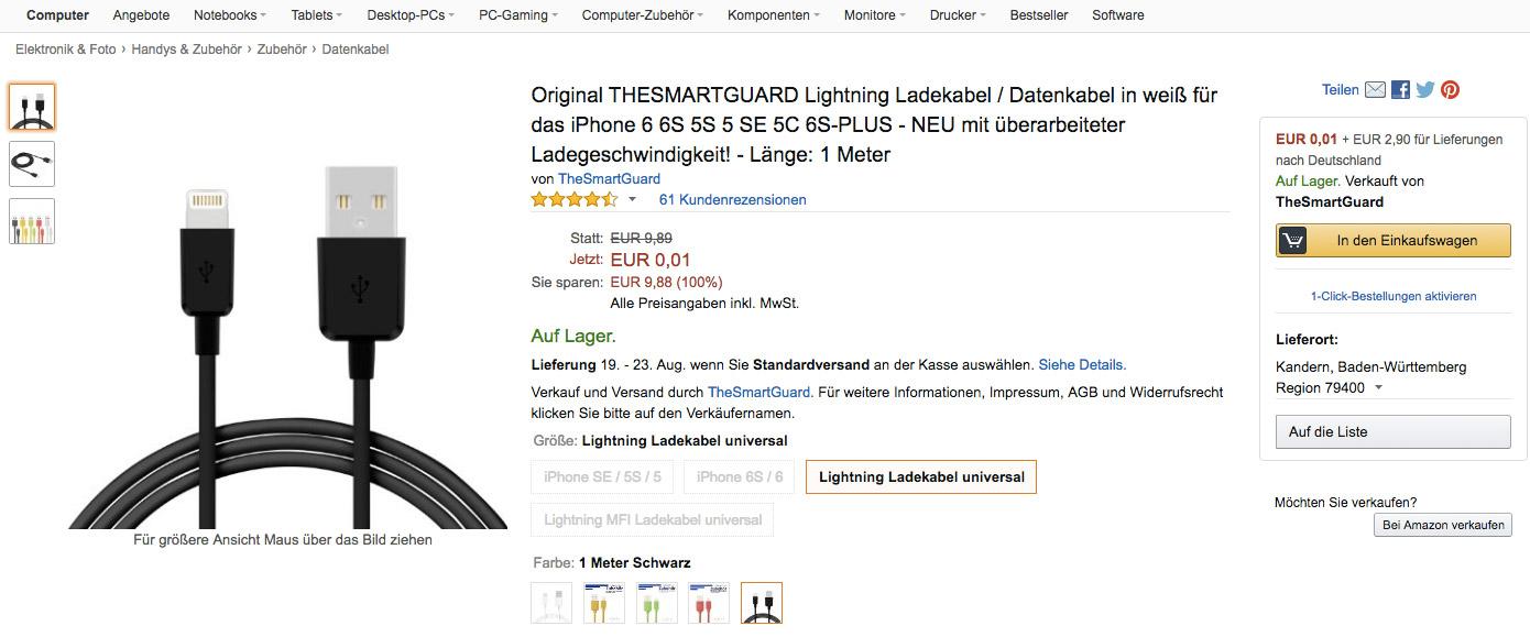Nur für 1 Cent auf Amazon: Zertifizierte Ladekabel für iPhones