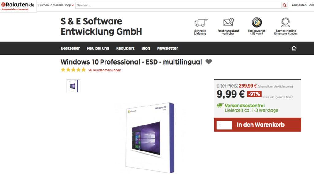 Windows 10 unter 10 Euro