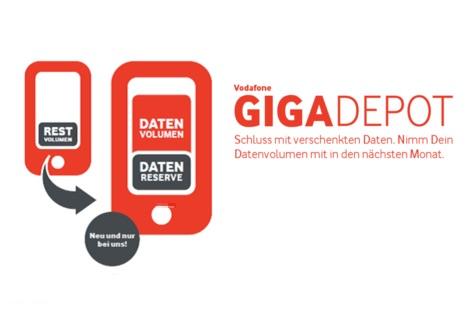 Vodafone GigaDepot: Nicht genutztes Datenvolumen einfach in den nächsten Monat nehmen – neue Tarife mit viel viel mehr Datenvolumen